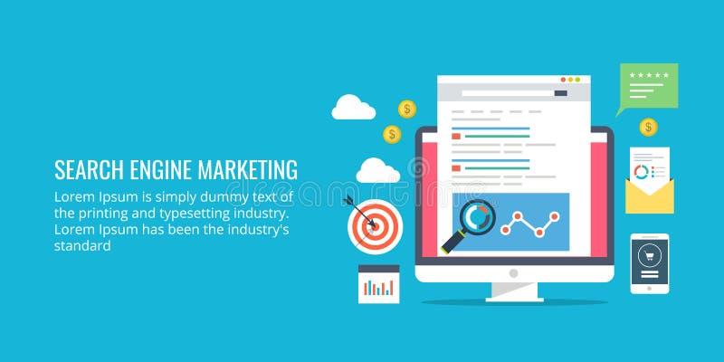Wyszukiwarki marketing, sieć i wisząca ozdoba, płaciliśmy reklamę, analityka Płaskiego projekta marketingowy sztandar ilustracja wektor