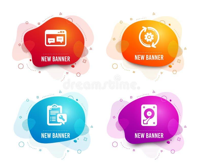 Wyszukiwarki okno, ikony, Spanner i Cogwheel Hdd znak Strony internetowej gadka, Remontowa us?uga, Konstruuje narz?dzie wektor royalty ilustracja