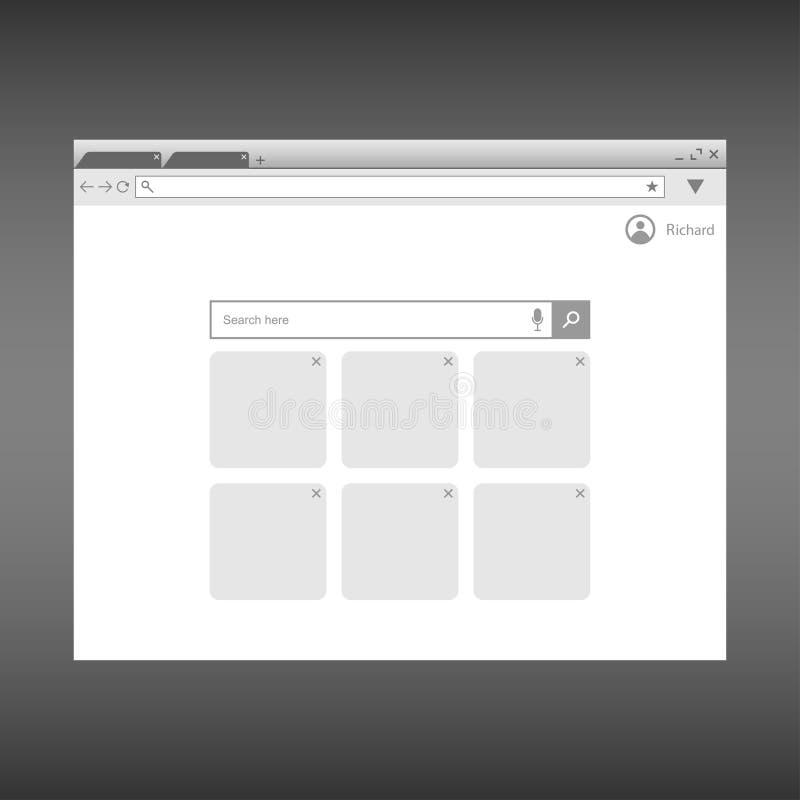 Wyszukiwarki okno szablon Przeglądarki internetowej strony interfejs Projekt dla UI wektor ilustracja wektor