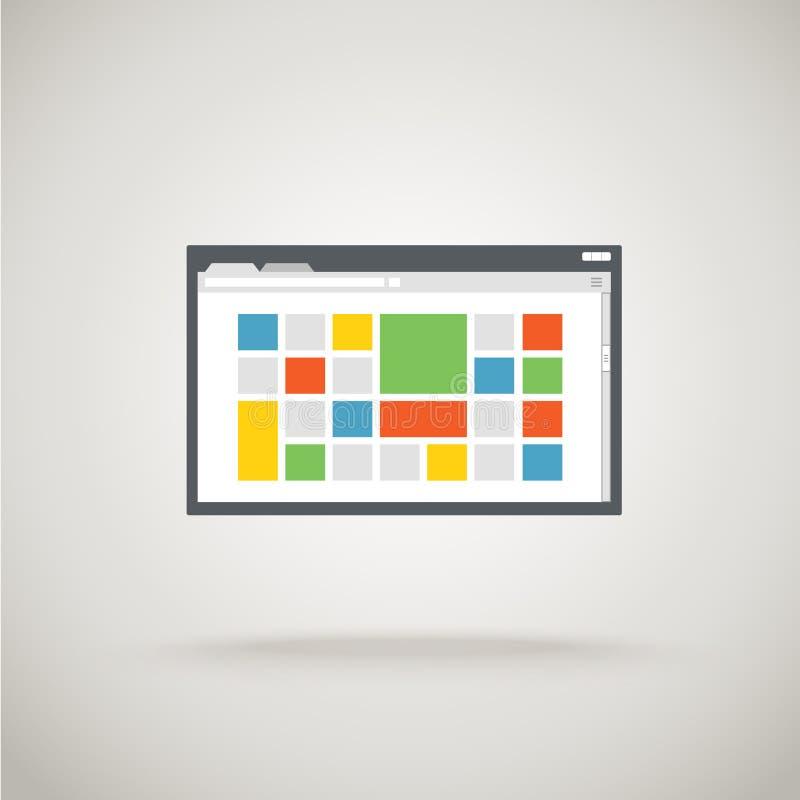 Wyszukiwarki okno z kolor płytką ilustracja wektor