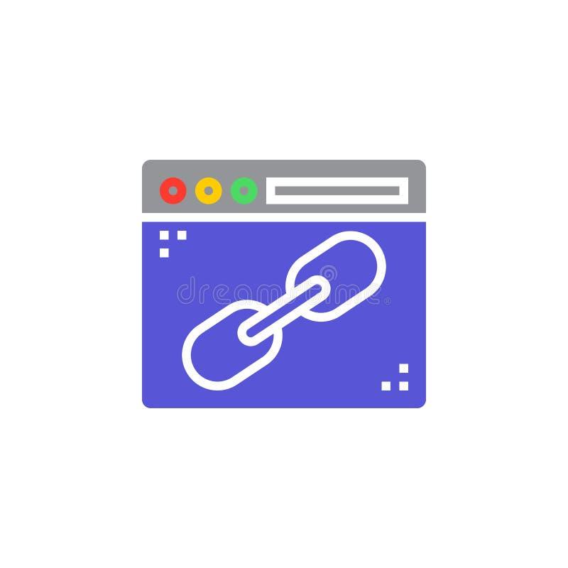 Wyszukiwarki okno z kulisowym ikona wektorem, wypełniający mieszkanie znak, bryła co ilustracji