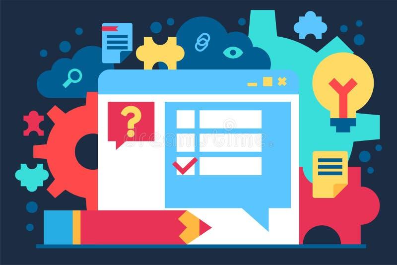 Wyszukiwarki okno z Próbnym rzeczy pytania sztandarem ilustracja wektor