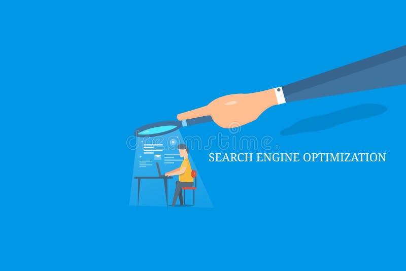 Wyszukiwarki optymalizacja szkło - biznesmena gmerania zawartość na laptopie, ręki mienia powiększać - ilustracji