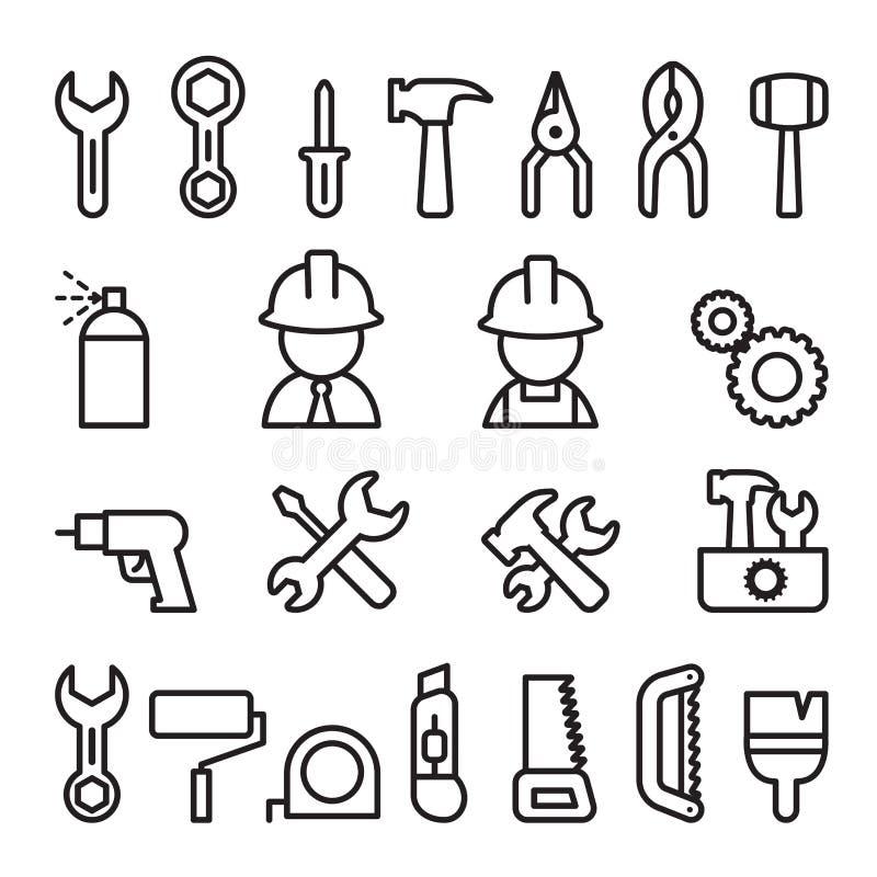 Wytłacza wzory ikonę ustawiającą w cienkim kreskowym stylu ilustracji