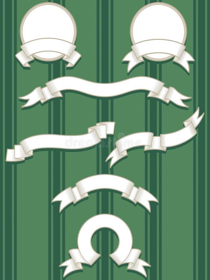 wytrawiony sztandaru set royalty ilustracja