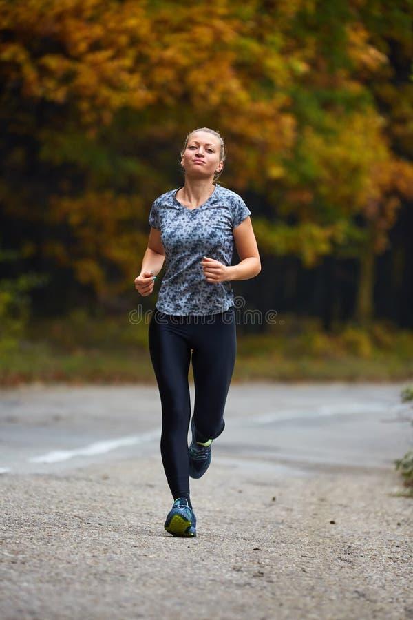 Wytrzymałość biegacz w lesie zdjęcia stock