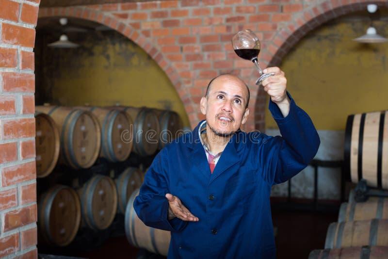 Wytwórnia win pracownik w lochu z szkłem wino zdjęcie stock