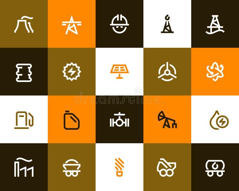 Wytwarzania siły i przemysłu paliwowego ikony Mieszkanie styl ilustracji