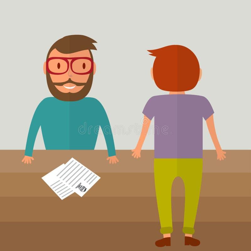 Wywiad dla pracy Dwa młodego człowieka od różnych stron stół Życiorysu papierowy puste miejsce na stole Wektorowa ilustracja w mi ilustracja wektor