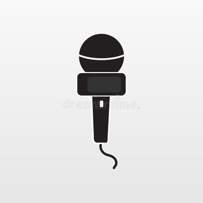 Wywiad ikona odizolowywająca Płascy mikrofonów środki wektorowi Nowożytny płaski medialny piktogram, biznes, rynek ilustracji