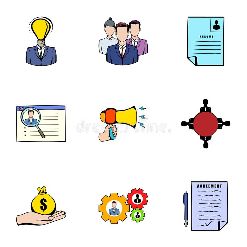Wywiad ikony ustawiać, kreskówka styl ilustracji