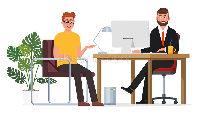 Wywiad pracownik i pracodawca royalty ilustracja