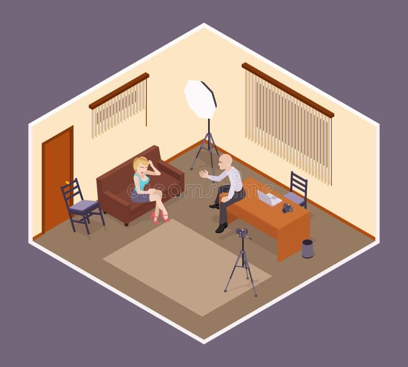 Wywiad scena Pracodawca zatrudnia atrakcyjnego ilustracji