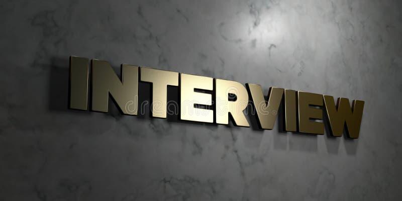 Wywiad - złoto znak wspinający się na glansowanej marmur ścianie - 3D odpłacająca się królewskości bezpłatna akcyjna ilustracja ilustracji