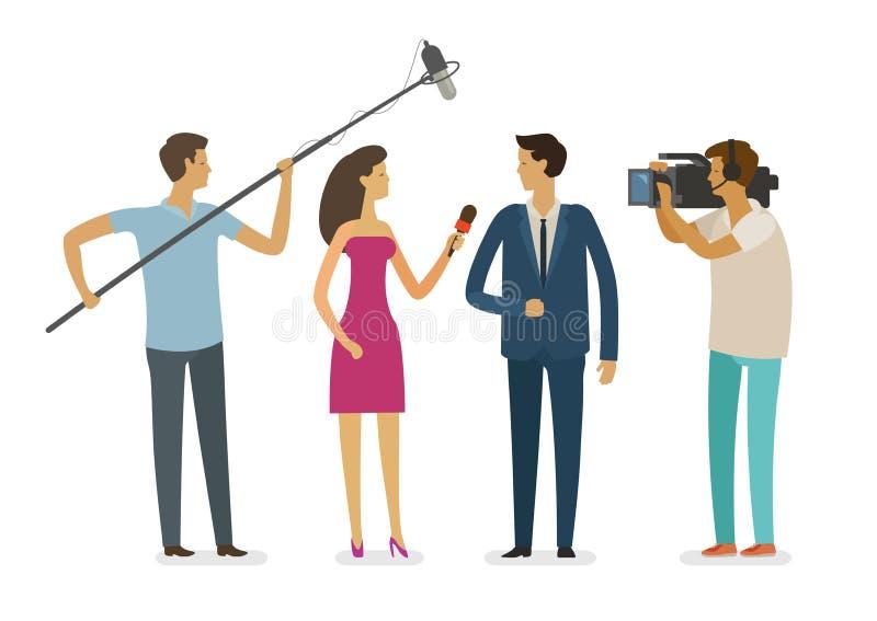 Wywiad z dziennikarzami Wideo raport, telewizyjny pojęcie obcy kreskówki kota ucieczek ilustraci dachu wektor royalty ilustracja