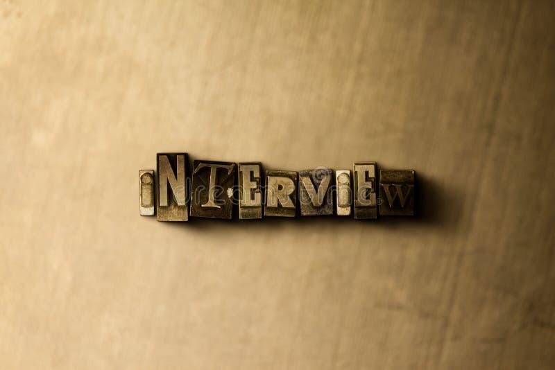 WYWIAD - zakończenie grungy rocznik typeset słowo na metalu tle ilustracja wektor
