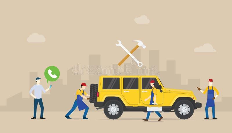 Wywoławczej samochód usługi auto wisząca ozdoba z drużynowymi ludźmi machinalna naprawa samochód z nowożytnym mieszkanie stylem - ilustracja wektor