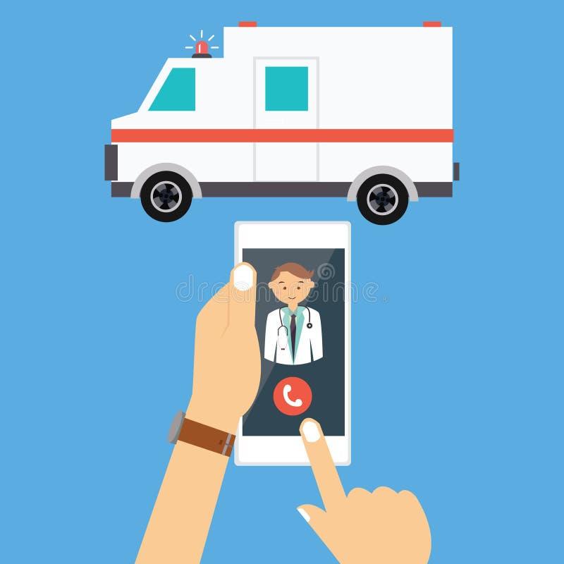 Wywoławczy ambulansowy samochód lekarki telefonu komórkowego nagły wypadek ilustracji
