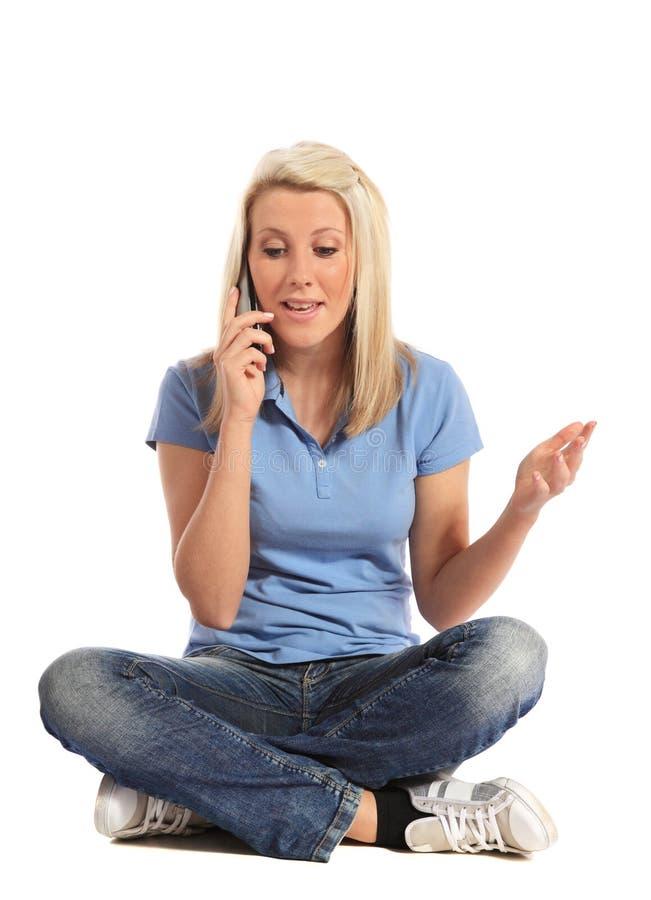 wywoławczy robi telefonu kobiety potomstwa zdjęcie royalty free