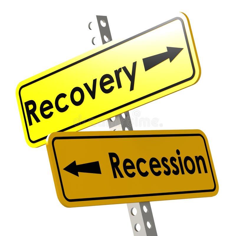 Wyzdrowienie i recesja z żółtym drogowym znakiem ilustracja wektor