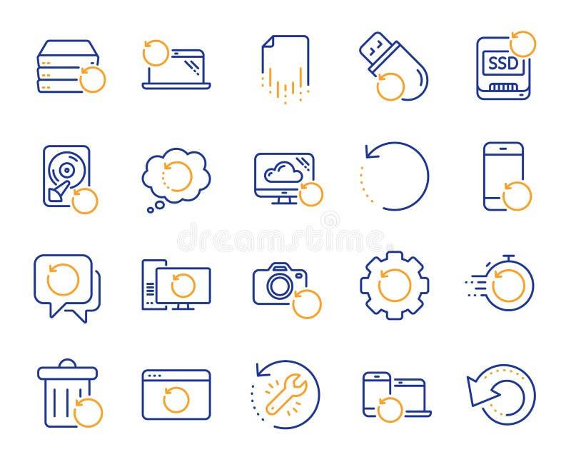 Wyzdrowienie linii ikony Wsparcie, przywrócić dane i odzyskuje dokument wektor royalty ilustracja