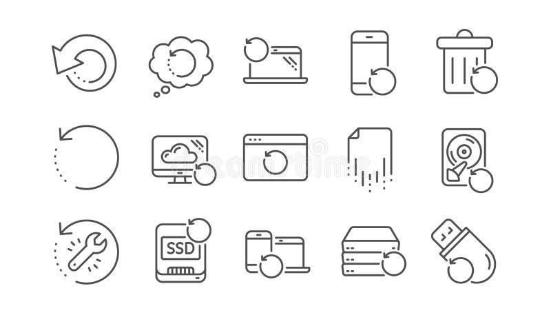 Wyzdrowienie linii ikony Wsparcie, przywr?ci? dane i odzyskuje kartotek? Liniowy set wektor ilustracji