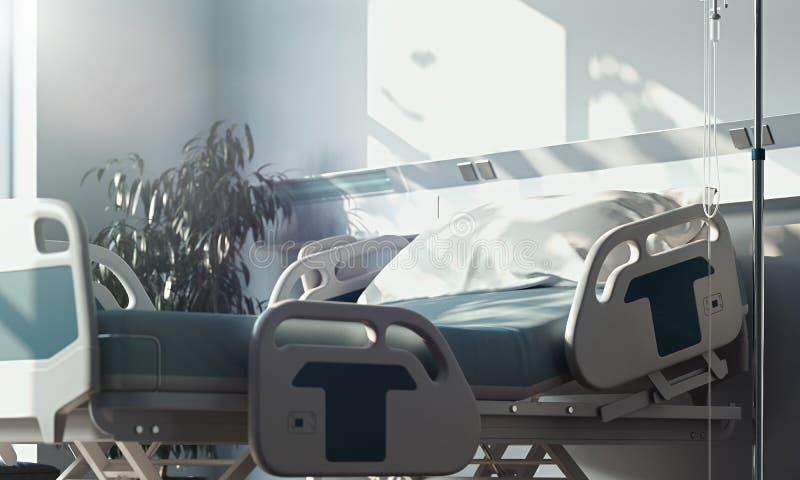 Wyzdrowienie pokój z łóżka i sprzętu medycznego n szpitalem ?wiadczenia 3 d ilustracja wektor