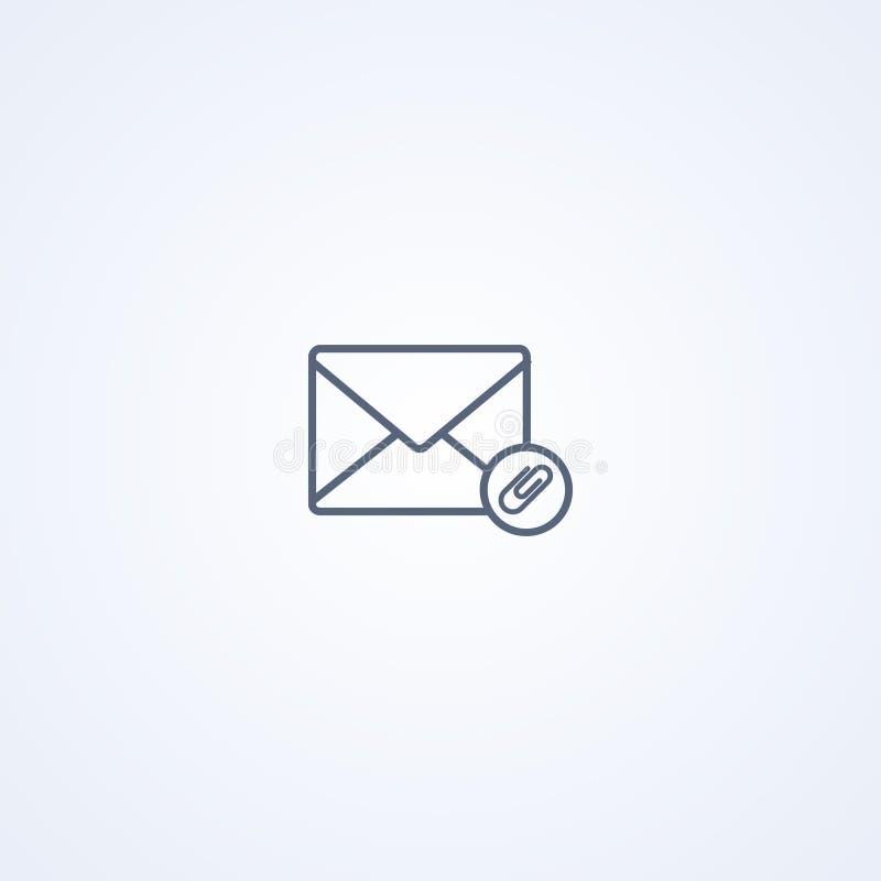 Wyznacza email kopertę, wektorowa najlepszy szarości linii ikona ilustracja wektor
