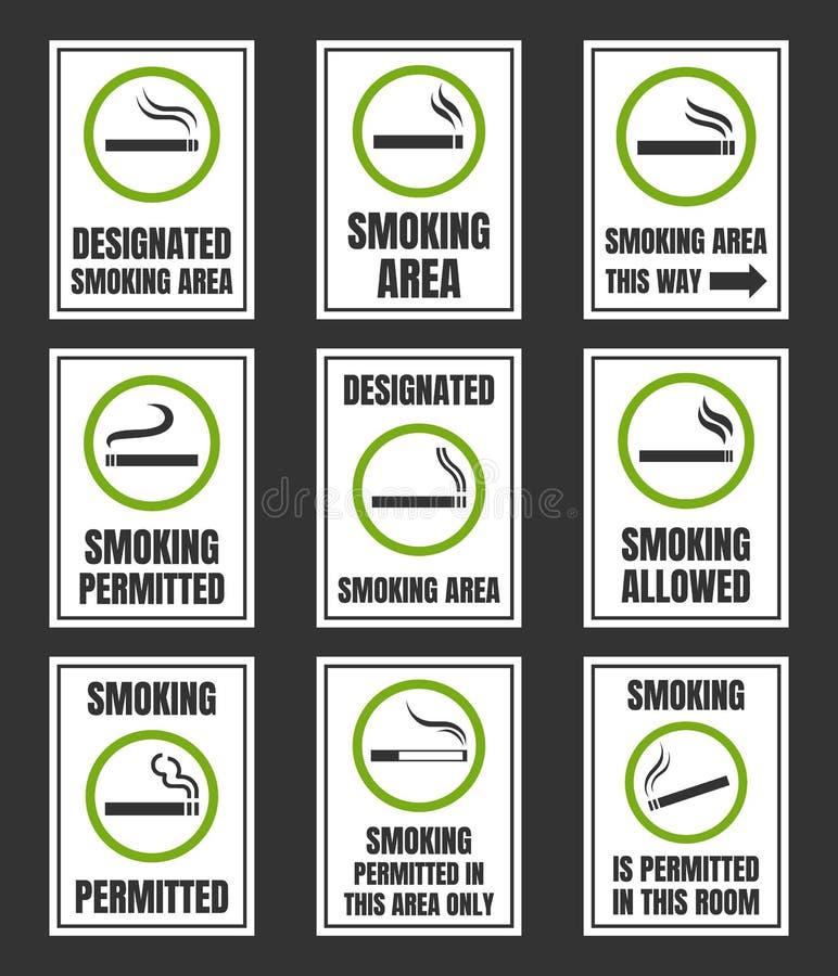 Wyznaczający dymienie teren, dymienie pozwalał znaka set ilustracji