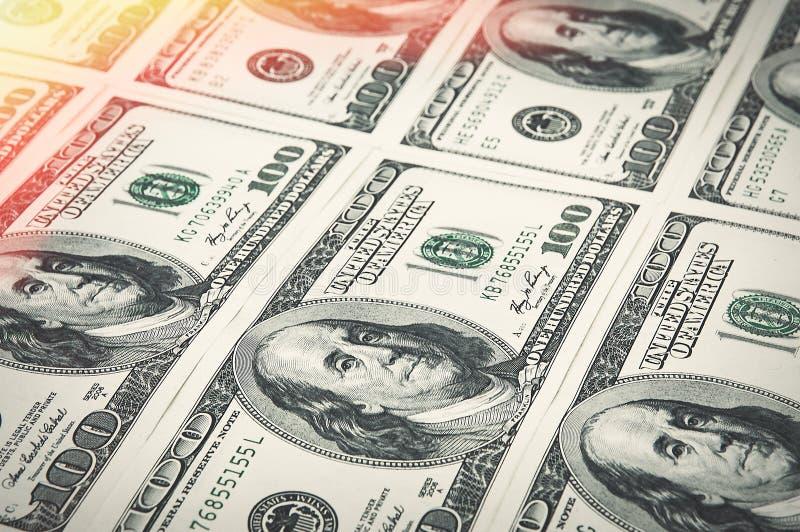 Wyznania sto dolarów układają z rzędu Łuna w kącie Widok przy kątem obrazy stock