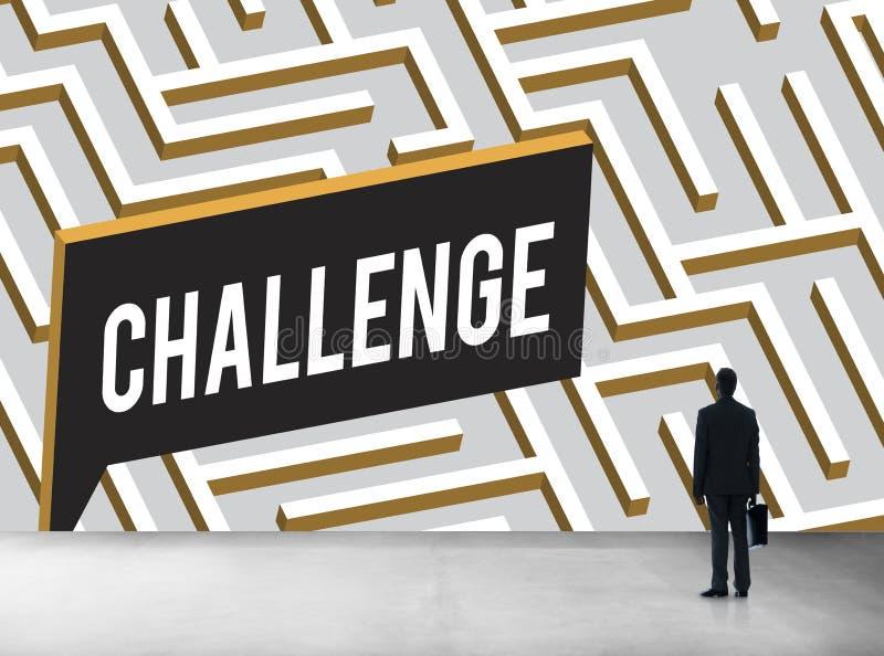Wyzwanie Analizuje Skomplikowanego labiryntu pojęcie ilustracja wektor