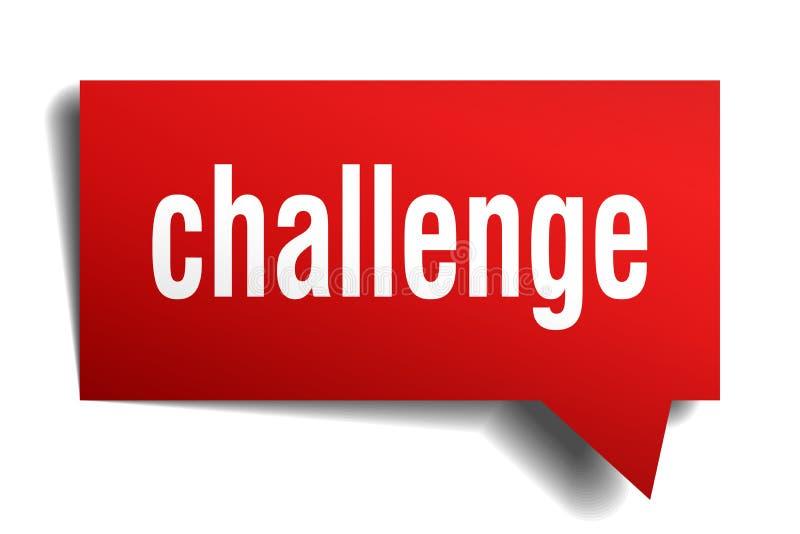 Wyzwanie 3d mowy czerwony bąbel ilustracja wektor
