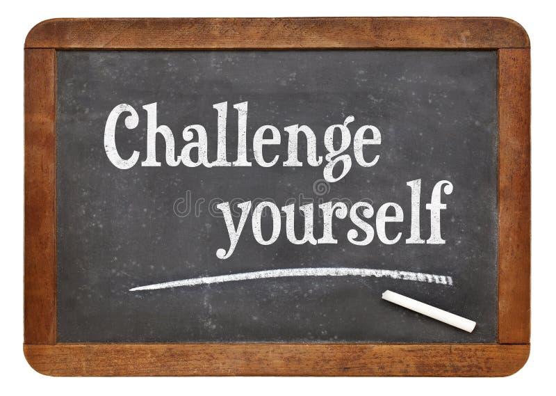 Wyzwanie yourself na blackboard zdjęcia royalty free