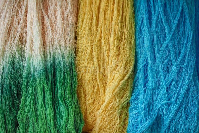 Wzór kolorowa natura stubarwna surowej bawełny tekstury niciana grupa dla backgroud zdjęcia stock