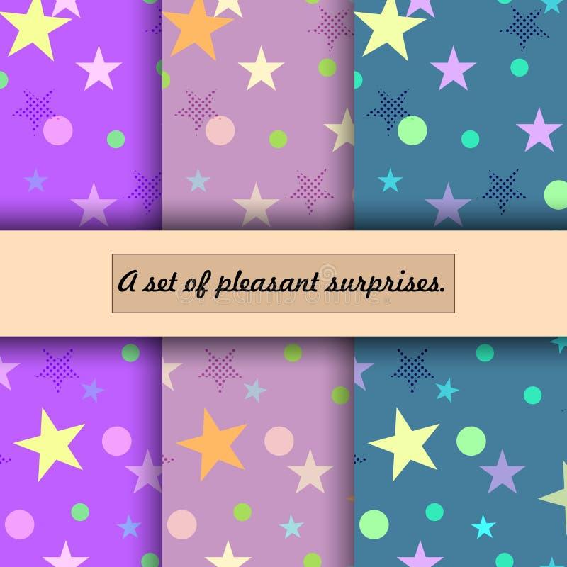 Wzór kolorowe gwiazdy i kropki różni rozmiary royalty ilustracja
