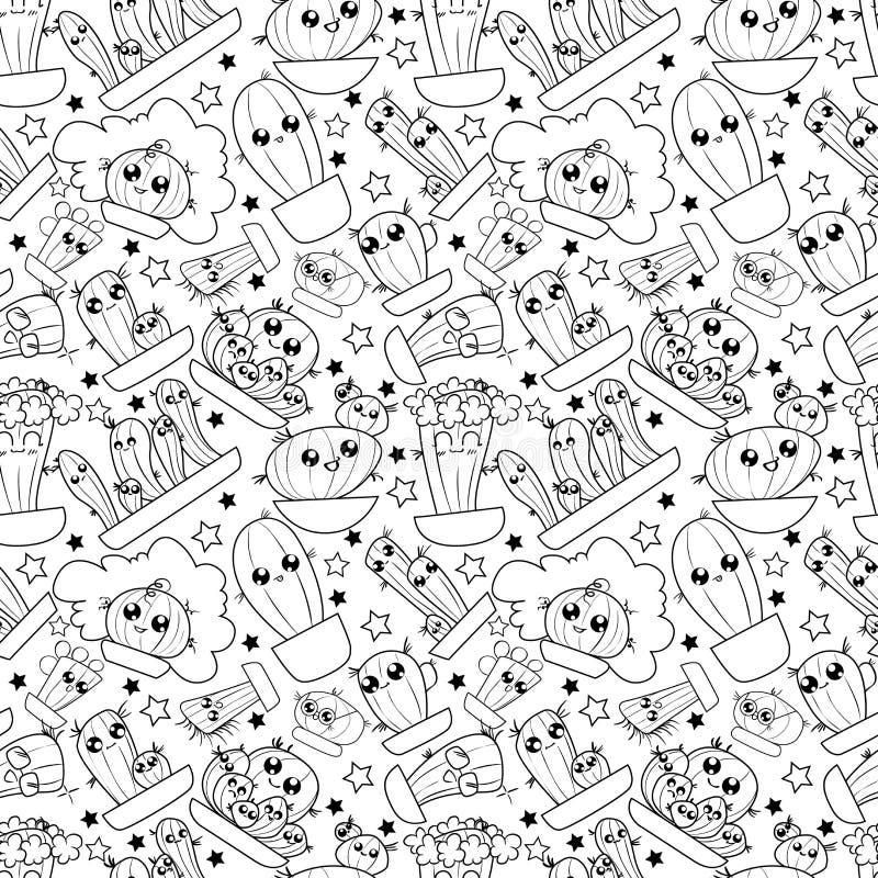 Wzór śliczny kreskówka remisu kaktus royalty ilustracja