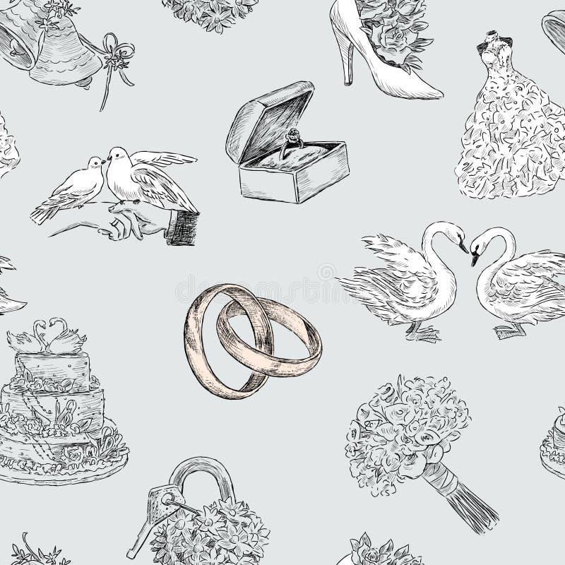 Wzór ślubni symbole ilustracji