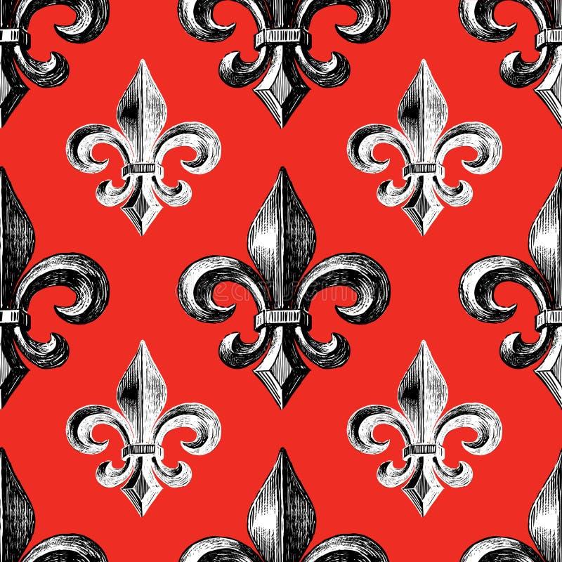 Wzór średniowieczny symbol francuska leluja ilustracji