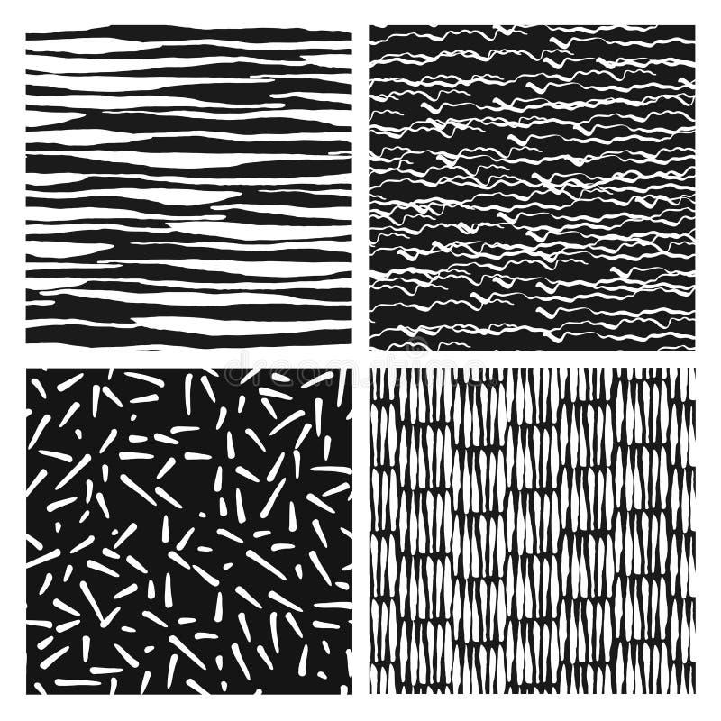 wzór bezszwowego zestaw atrament Grunge wektoru tekstura ręka patroszona ilustracji