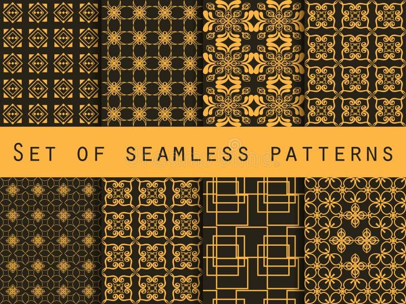 wzór bezszwowego zestaw geometryczni wzory Czerń i żółty kolor Dla tapety, łóżkowa pościel, płytki, tkaniny, tła ilustracji