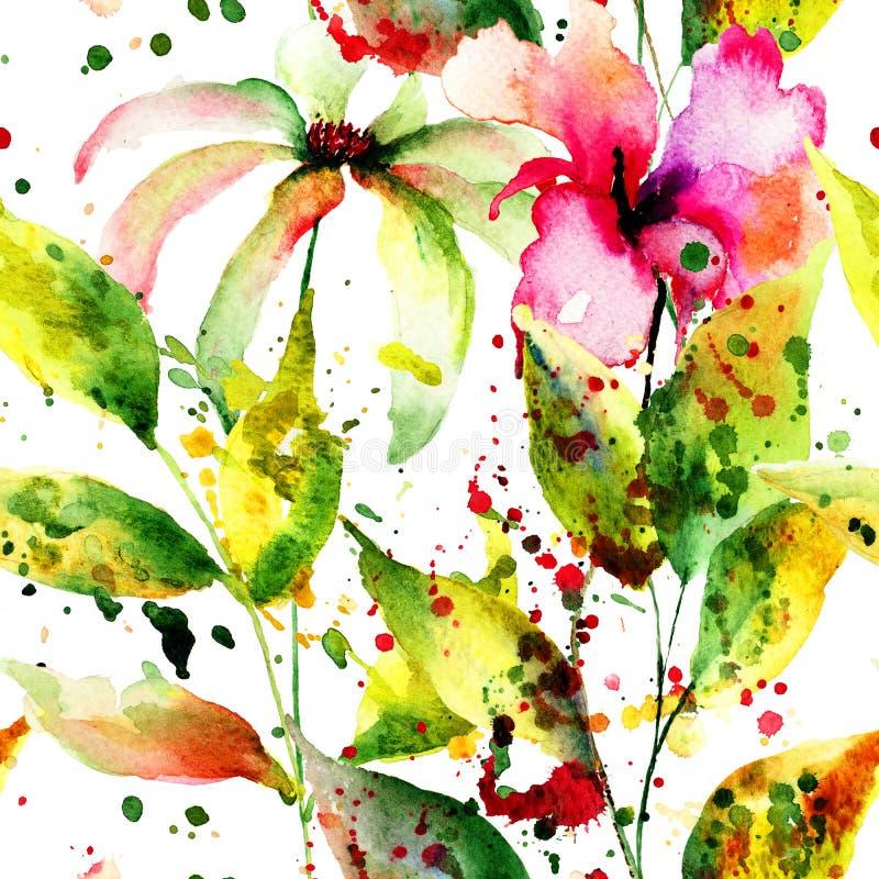 wzór bezszwowy abstrakcyjne kwiat ilustracja wektor