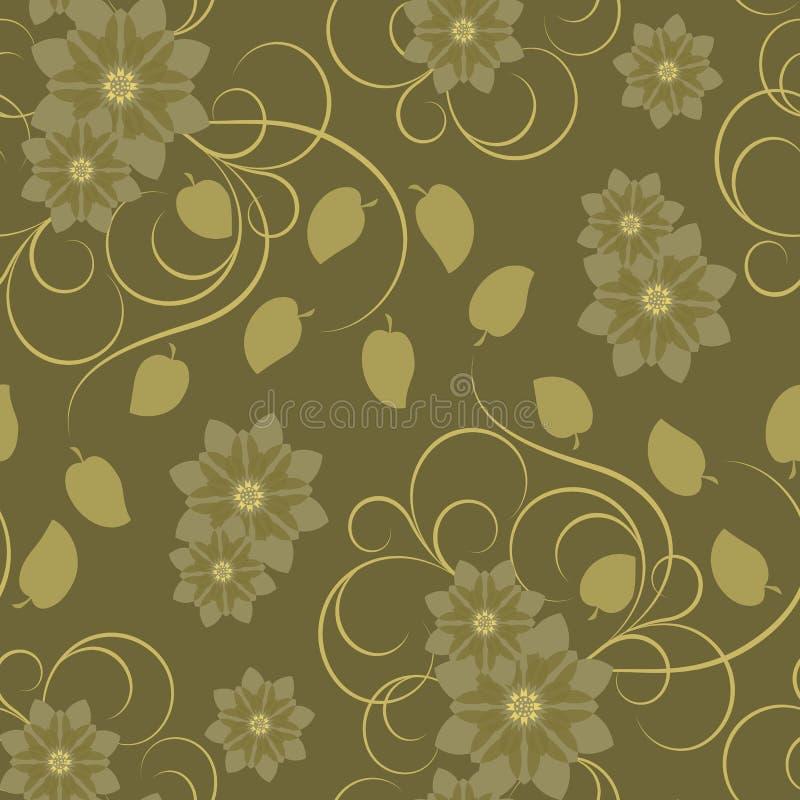 wzór bezszwowy brown kwiat ilustracji