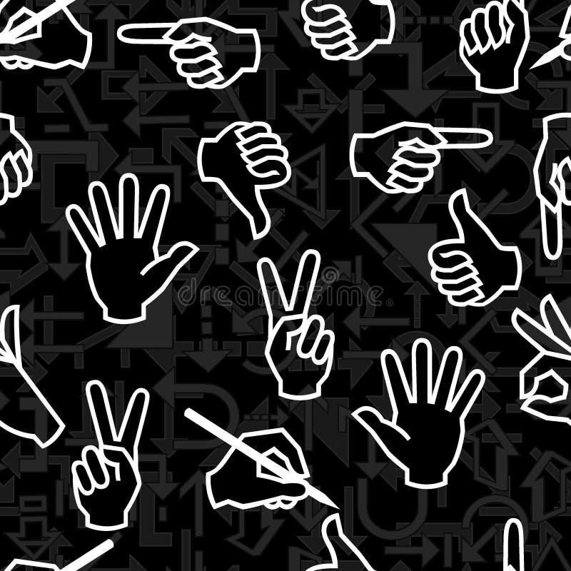 wzór bezszwowy gest dłoni royalty ilustracja