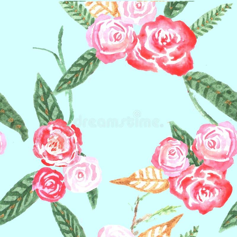 wzór bezszwowy kwiat akwarela royalty ilustracja