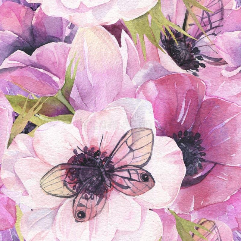 wzór bezszwowy kwiat Anemonu tło Akwareli tapeta ilustracja wektor