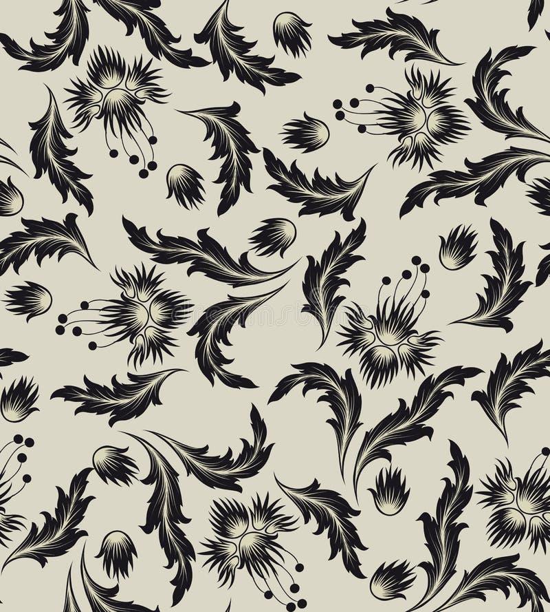 wzór bezszwowy kwiat czarnego royalty ilustracja