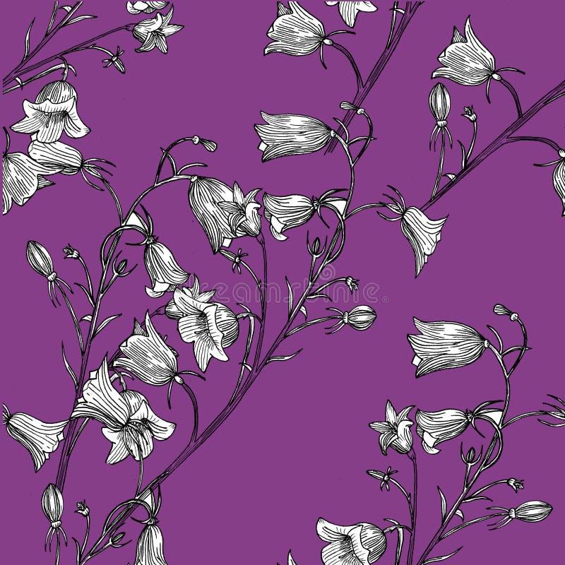 wzór bezszwowy kwiat ręka patroszona royalty ilustracja