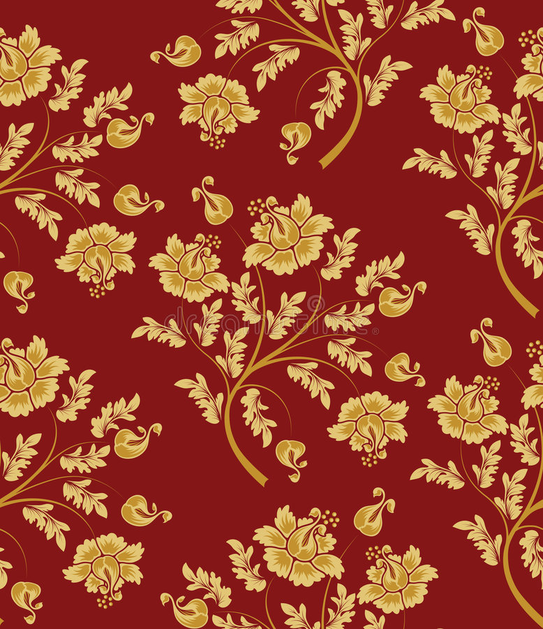 wzór bezszwowy kwiatek złota royalty ilustracja