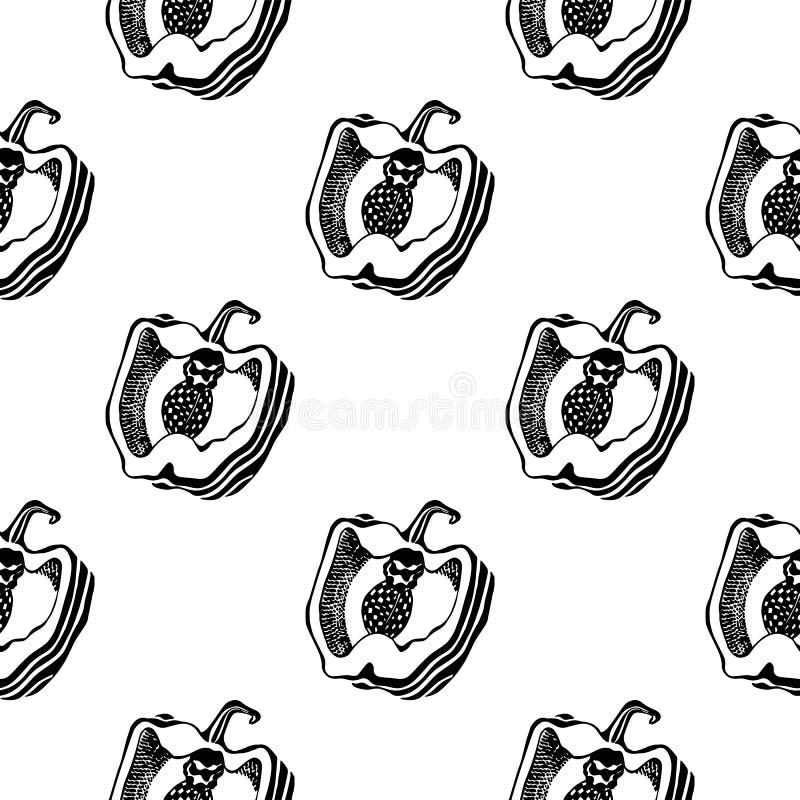 Wzór czarno-biały z pieprznikiem Bezproblemowa tekstura Grafika Wektor royalty ilustracja