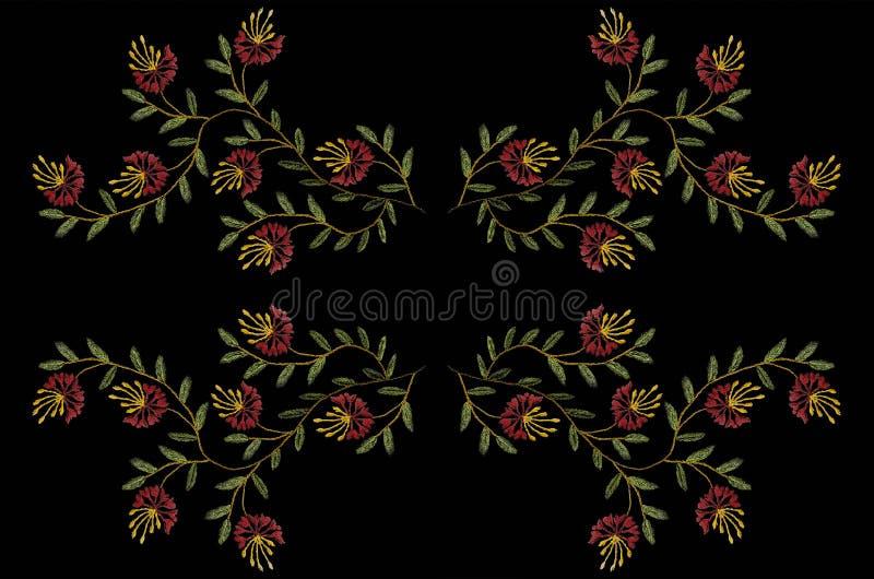 Wzór dla broderii z atłasowym ściegiem faliste gałązki z zieleń liśćmi i czerwonymi goździkami ilustracja wektor